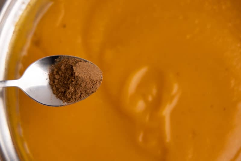 Adding cinnamon to butternut squash soup