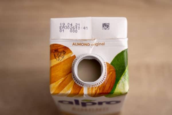 Almond milk carton top