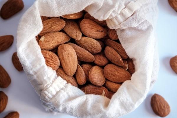 Almonds in a white bag