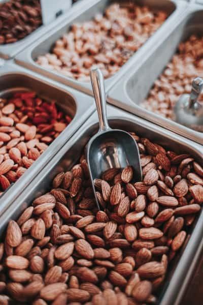 Almonds in a bulk bin