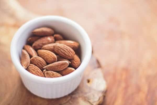 Almonds in a shallow bowl