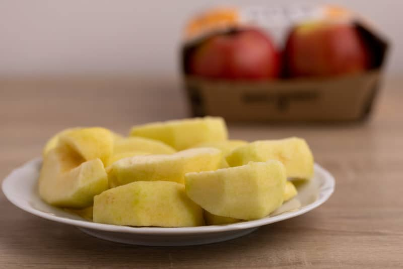 Apples prepped for eating