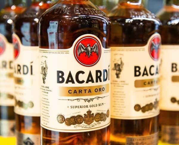 Bottles of Bacardi gold rum