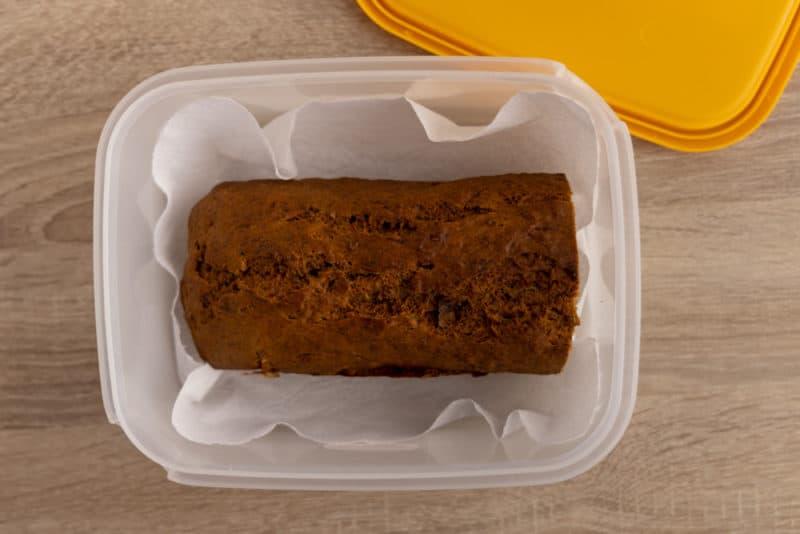 Banana bread in an airtight container