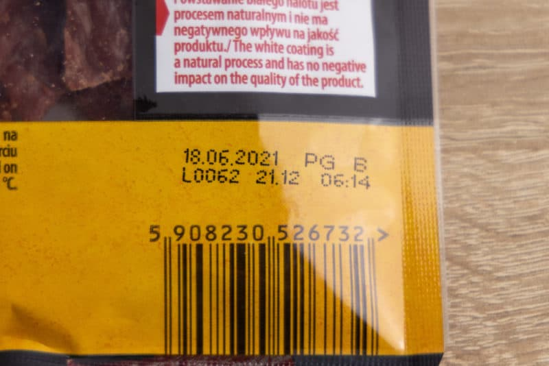 Beef jerky: best-by date on the label