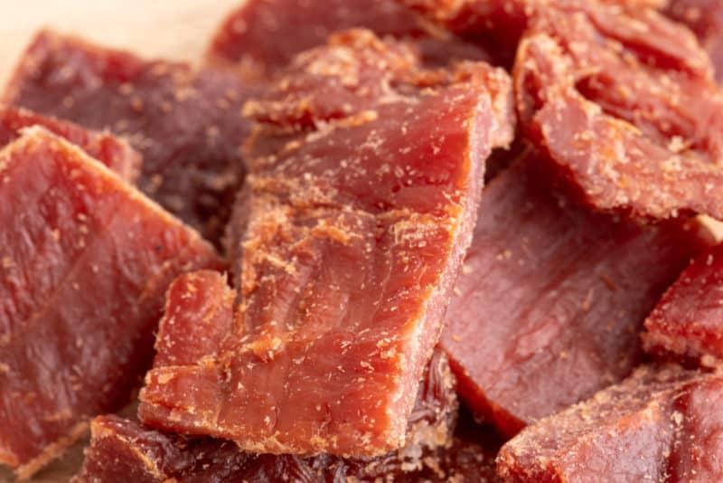 Beef jerky closeup