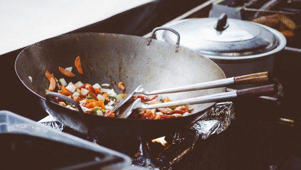 Black steel wok with veggies