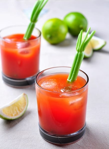 Bloody Mary cocktail, also contains Worcestershire sauce