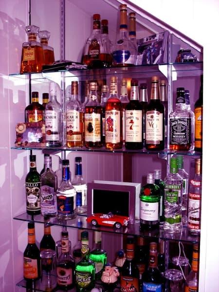 Bottles of various alcohols on shelves