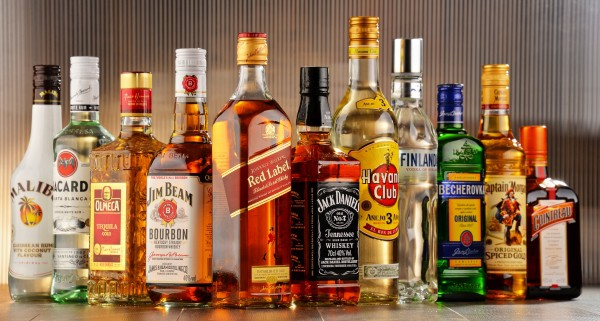 Bottles of various alcohols