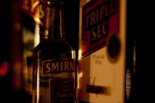 Bottles of vodka and triple sec