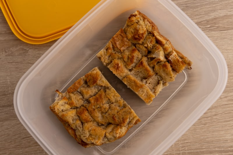 Bread pudding in storage container