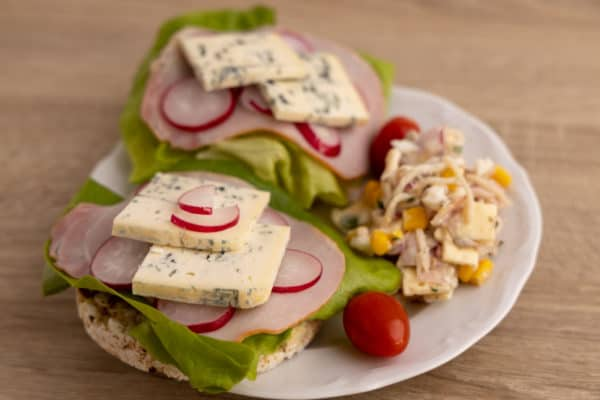 Breakfast with blue cheese and salad
