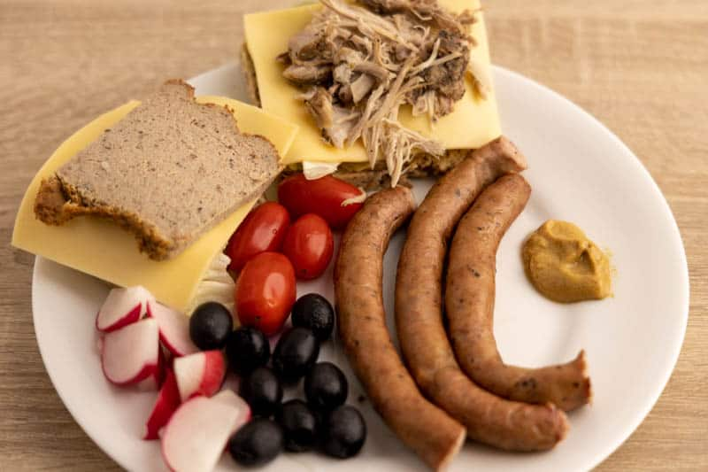 Breakfast with sausages and mustard