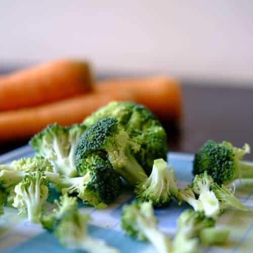 Broccoli florets on a cutting board