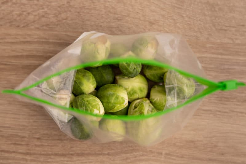 Brussels sprouts in a freezer bag