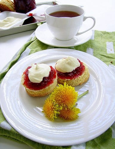 Buttermilk Scones With Honey Mascarpone Cream And Strawberry Apple Conserve