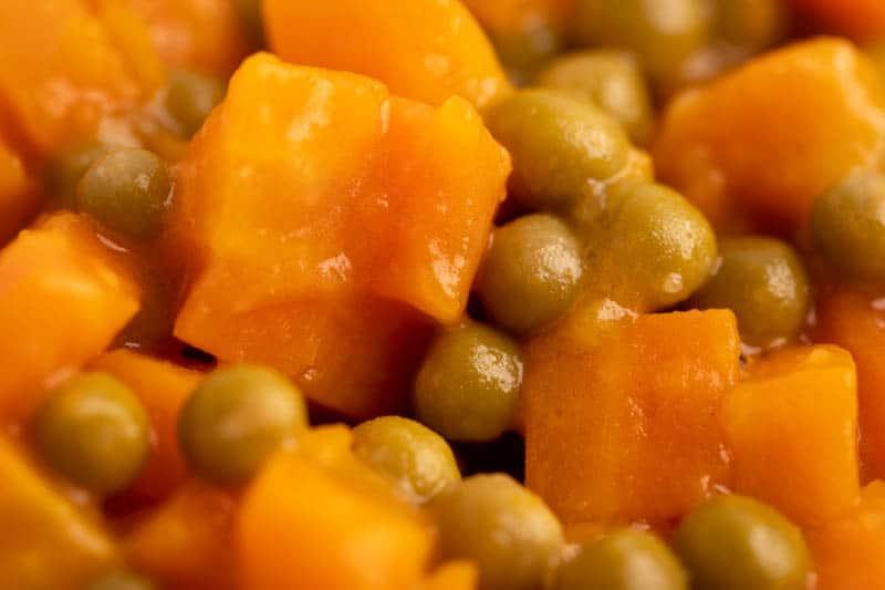 Carrots and peas salad closeup