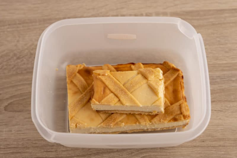 Cheesecake in a storage container