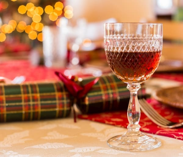 Christmas sherry in cut glass goblet on a table