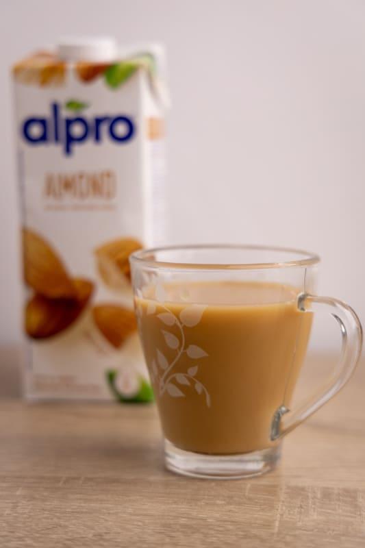 Coffee and almond milk carton