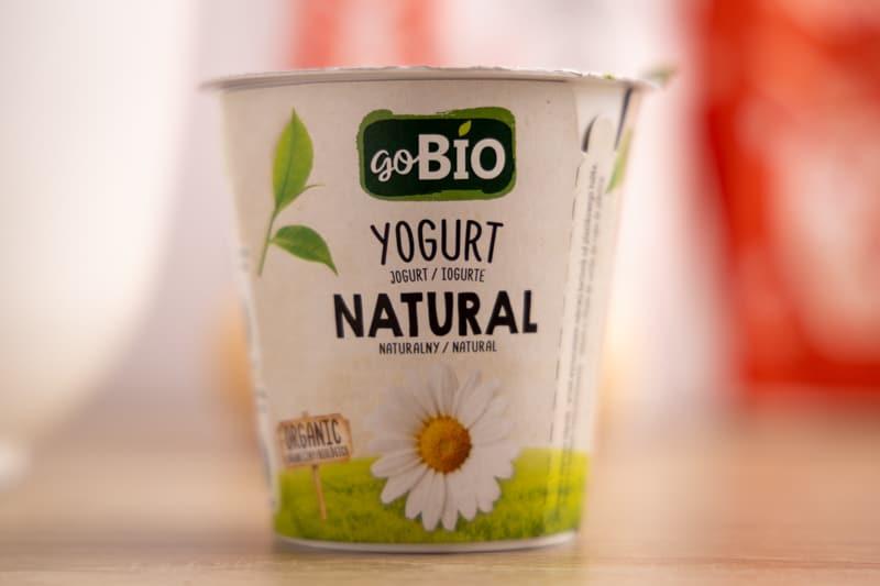 Container of yogurt