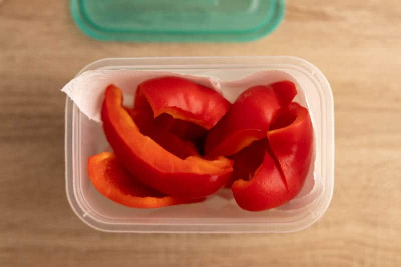 Cut bell pepper in a storage container