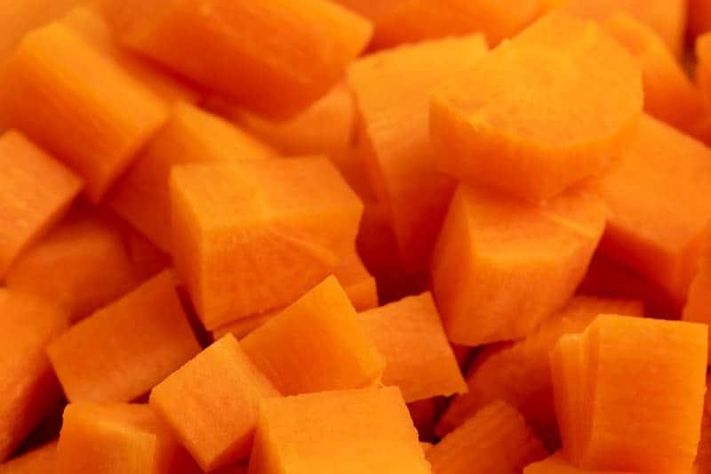Cut carrots closeup