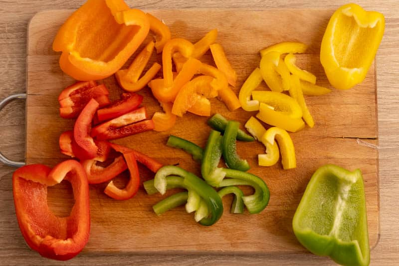 Cutting bell peppers