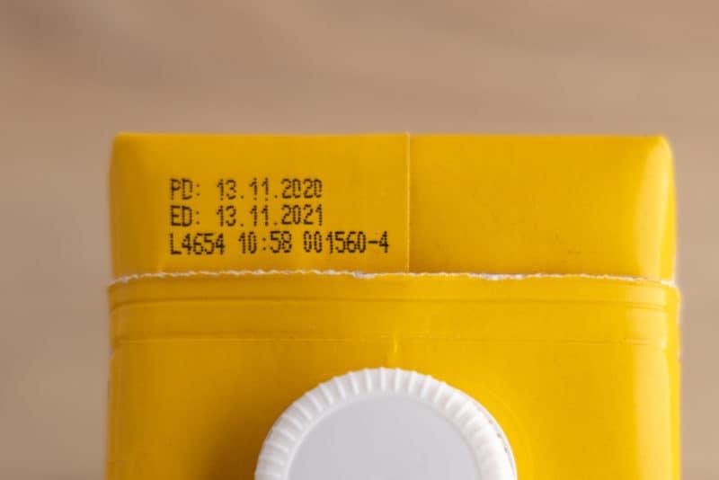 Date on oat milk carton
