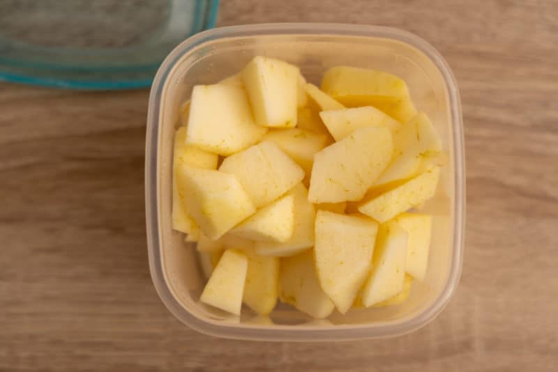 Diced apples in a container