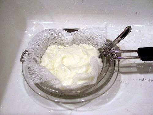 Yogurt being drained
