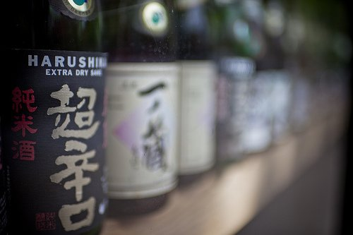 Bottles of sake on a shelf