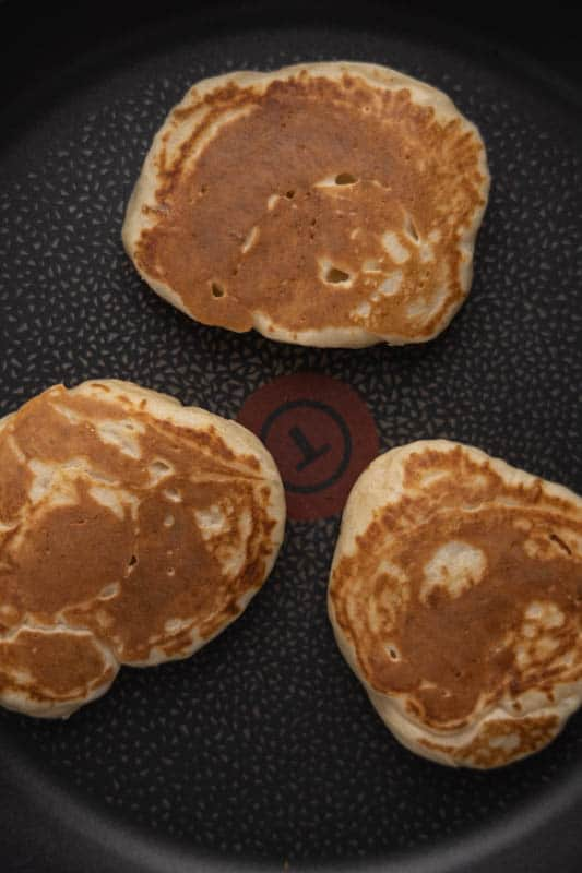 Finishing pancakes on the stove