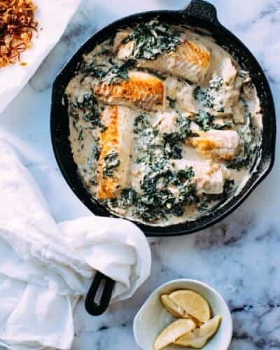 Fried salmon with greens