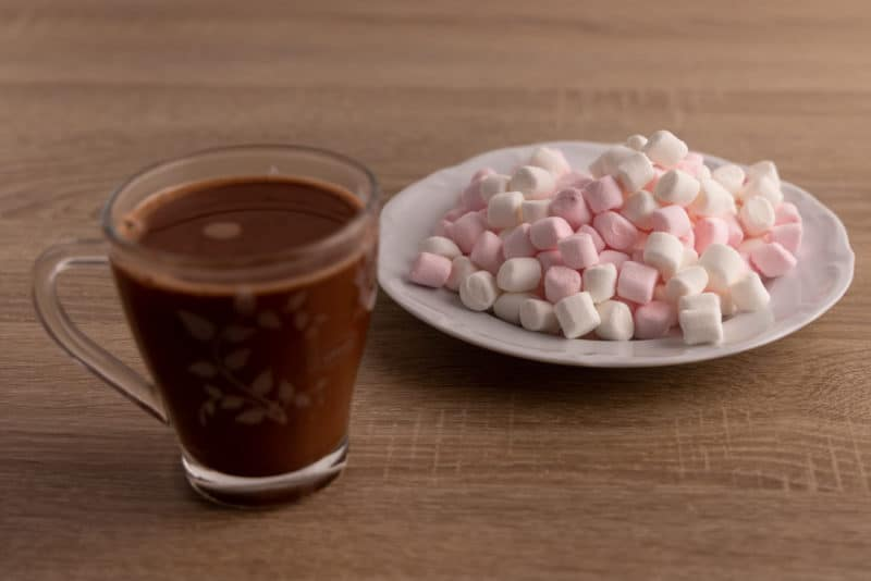 Glass of hot chocolate and marshmallows