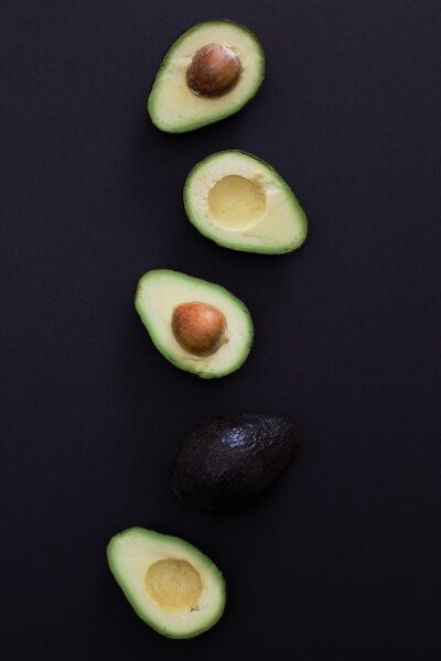Halves of Hass avocados