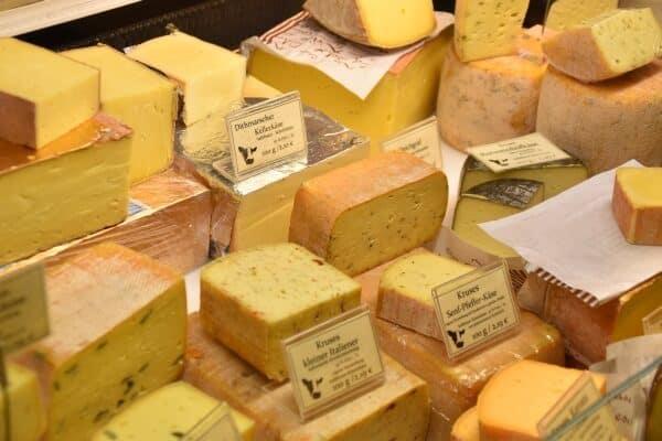 Hard cheeses on display