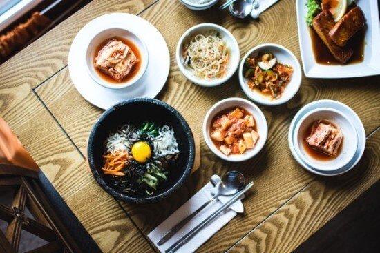 Korean Food Bibimbap with Kimchi