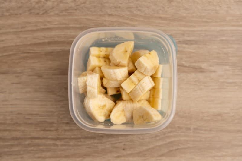 Leftover banana pieces in an airtight container