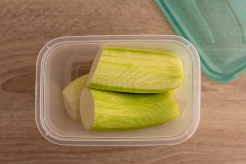 Leftover zucchini in an airtight container