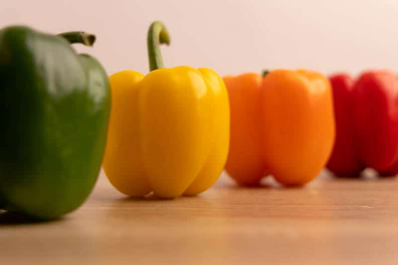 Line of bell peppers