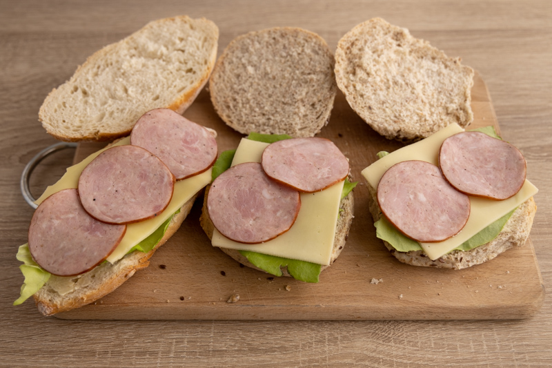 Making sandwiches with deali meat