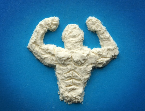 Male body from protein powder