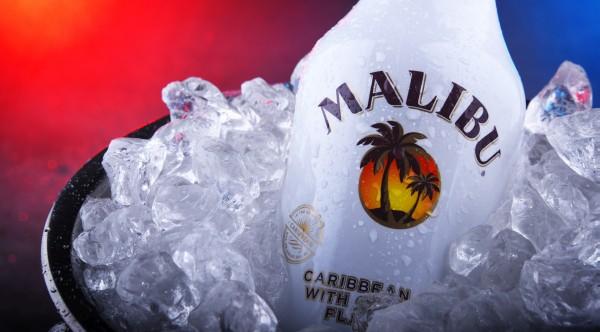 Bottle of Malibum in an ice bucket