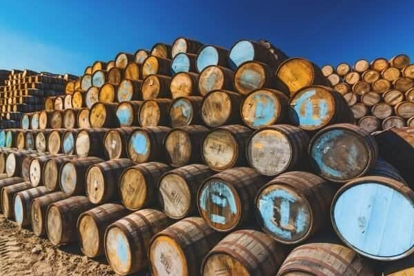 Mountains of whiskey barrels