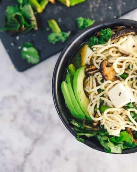 Noodles, veggies, avocado, and tofu
