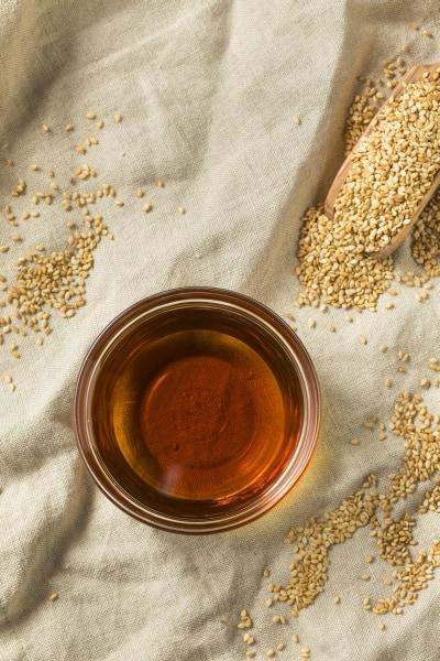 Organic sesame oil in a bowl