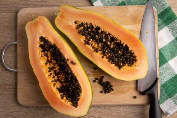 Papaya cut in half