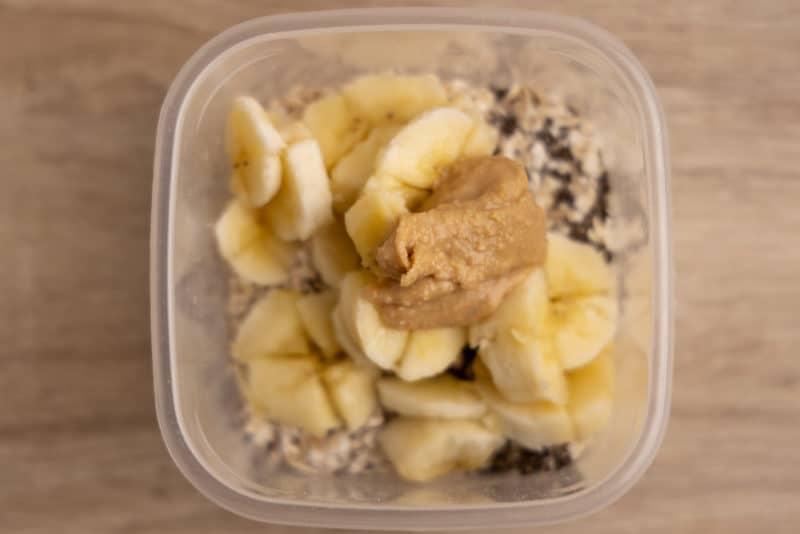 Peanut butter in overnight oats
